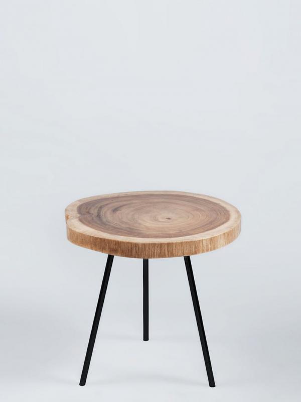nagarey   Products - Meja - Mini Peralta Side/Coffee Table - White Bone &  Black Leg